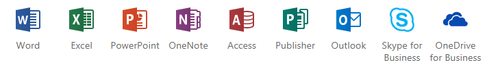 Office 365 application icons. Word, Excel, Power Point, ...