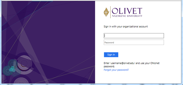 My.Olivet login screen